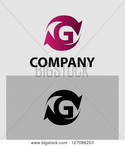 Vector illustration of abstract icons of letter G