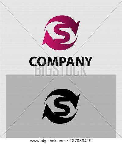 Vector illustration of abstract icons of letter S
