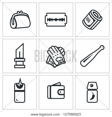 Handbag, Razor, Finance, Knife, Gloves, Bat, Teaser, Purse, Tear Gas poster