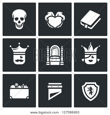 Skull, Heart, Book, King, Queen, Heritage, Guillotine, Shield