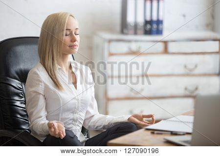 Business Woman Resting In Yoga Pose