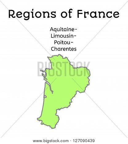 France administrative map of Aquitaine-Limousin-Poitou-Charentes region on white