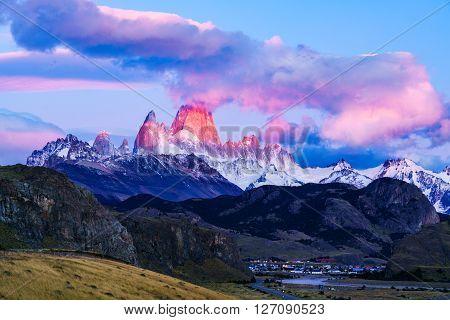 Mount Fitz Roy and El Chalten Village at sunrise