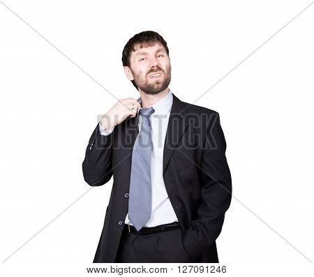 gestures distrust lies. body language. man in business suit, gesture pulling the collar. isolated on white background. concept of true or false.