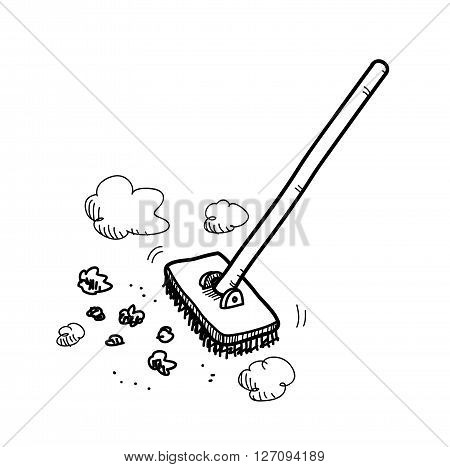 Cleaning Up, a hand drawn vector doodle illustration of a floor brush cleaning up the dirt and stuff.