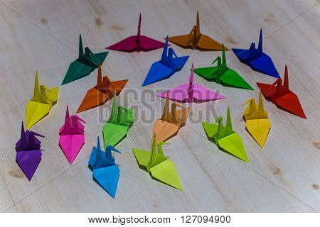 Folding paper of a beautiful and colorful crane.