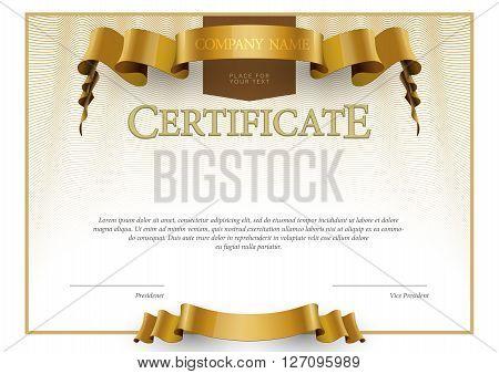 Modern Certificate. horizontal Template diplomas currency. Vector