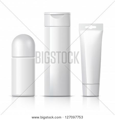 set of cosmetic products on a white background. Cosmetic package collection for cream soups foams shampoo Spray Deodorant. vector illustration.
