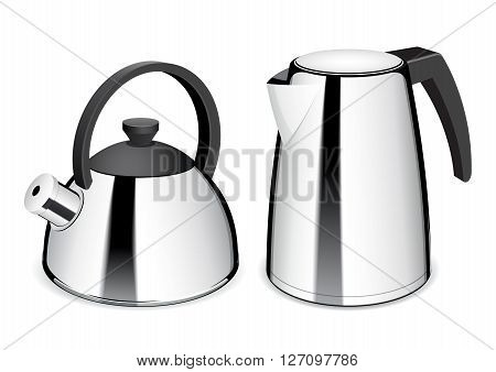 Teapot and electric kettle. Shiny stainless steel kettle. Vector Illustration