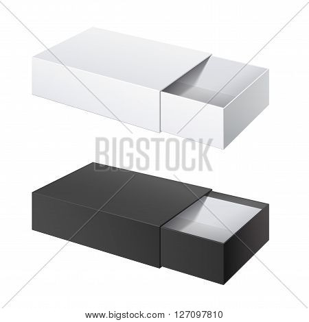 Realistic Package Cardboard Sliding Box Opened. black and White box pack For small items matches and other things. Vector Illustration