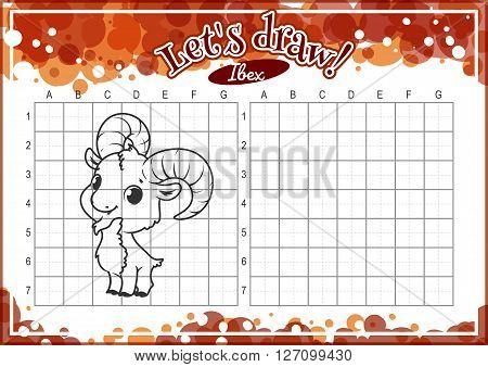 Educational game for kids. How to draw cute cartoon ibex. Drawing with grid. Worksheet for class or at home with the kids. A4 size. Horizontal orientation.