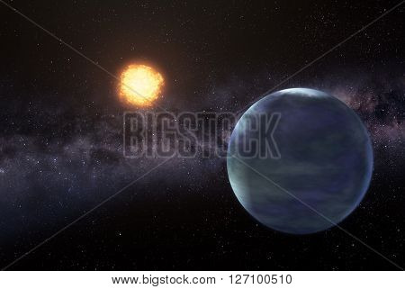 Illustration of distant earthlike planet somewhere in space