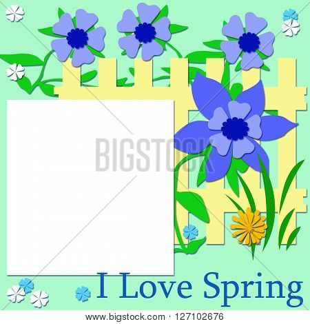 blue flowers and yellow fence scrapbook page illustration