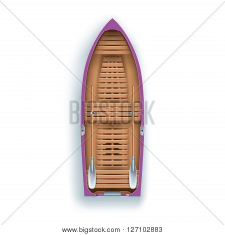 top view rowing boat promenade on white background