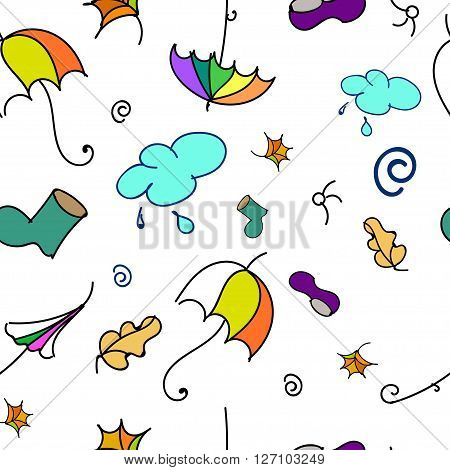 Fall colourful pattern with gumboots, leaves and umbrellas.