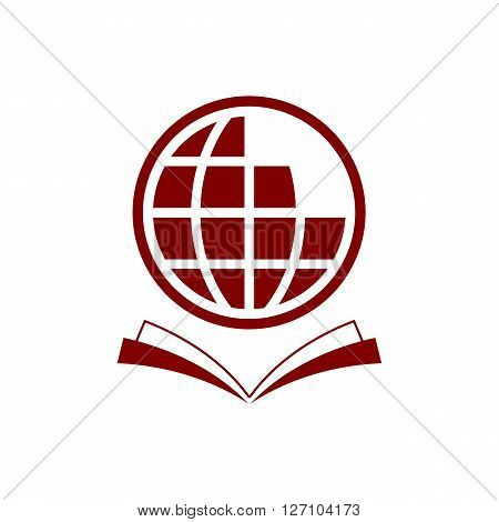 News icons. World globe symbols. Open book sign. Education literature. Square flat buttons with long shadow