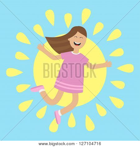Girl jumping isolated. Sun shining icon. Summer time. Happy child jump. Cute cartoon laughing character in violet dress. Smiling woman. Blue background. Flat design Vector illustration