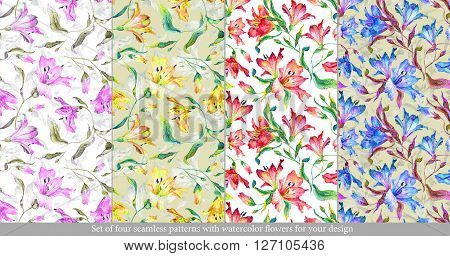 Set with floral seamless patterns. Watercolor  lilies. Spring and summer motifs. Can be used for wrapping paper and any your design.