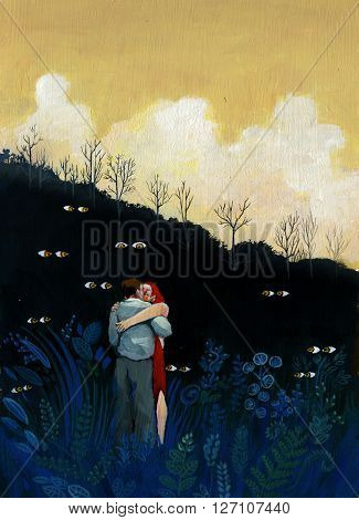 two lovers in a dark forest while they are being spied on by mysterious eyes