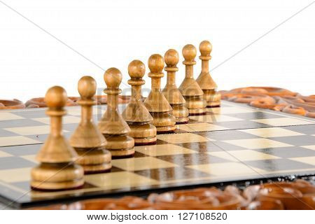wooden chessboard handmade. woodcarving. game of chess