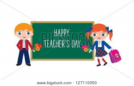 Happy Teachers' Day. Schoolchildren with schoolbags and flowers. Back to school. Elements for your design. Vector illustration.