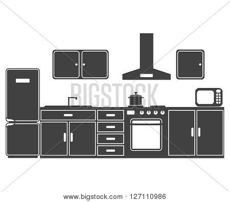 The illustration consisting of kitchen furniture of a plate and the refrigerator of the microwave oven