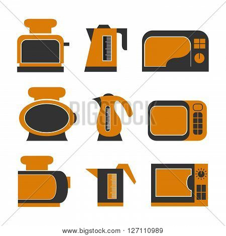 The set of household appliances consisting of a teapot of the microwave oven and a toaster