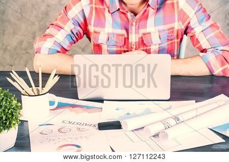 Caucasian Male Arms On Desk