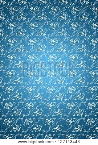 Bluish gradient background with white  seamless  vintage  ornament
