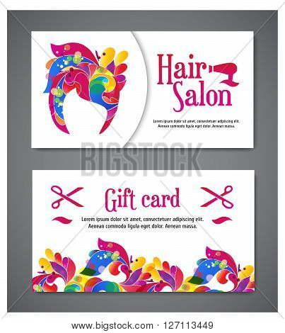 set of two templates of gift cards with color ornament for print or website. vector illustration. Gift card design. Vector ornament. Card template for print. Hair salon logo and gift card