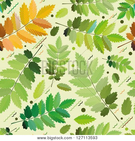 Seamless green foliage without gradient for printing.