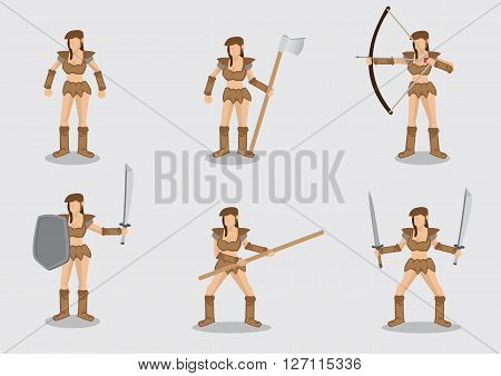 Set of six vector illustrations of fictional woman warrior with variety of ancient weapons isolated on plain background.