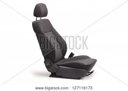 Studio shot of a brand new black car seat isolated on white background