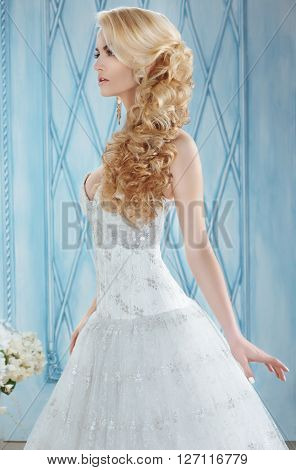 Bride.long Tresses Braid Hairstyle.