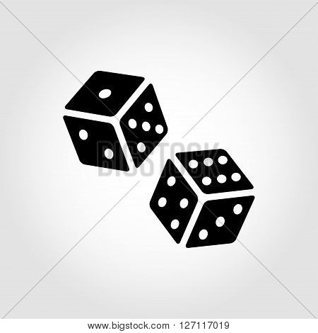 Vector black dice cubes icon on grey background. Two black dice cubes