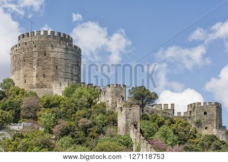 Exterior Shot Of Rumeli Hisari (Rumelian Castle), Istanbul, Turkey
