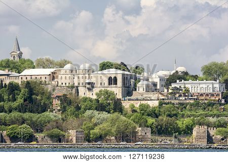ISTANBUL,TURKEY, APRIL 21, 2016: Exterior shot of Topkapi Palace and old city walls of Constantinople, Istanbul, Turkey