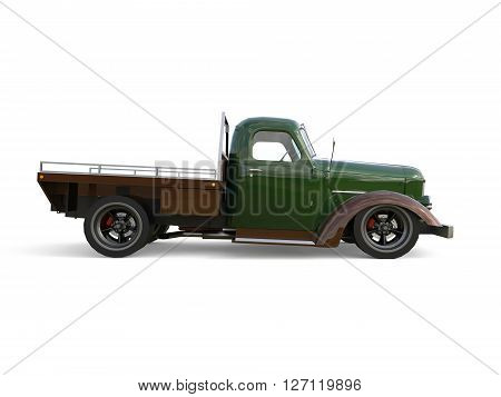 Old restored pickup. Pick-up in the style of hot rod. 3d illustration