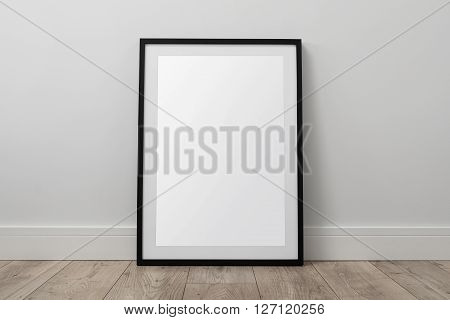 Blank picture frame on the floor with clipping path
