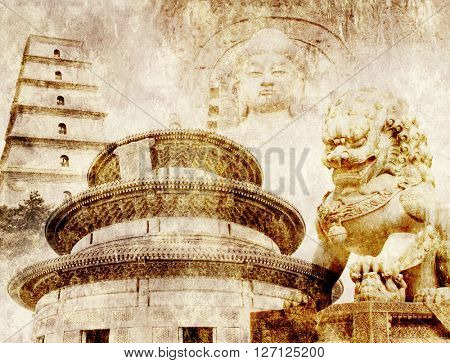 Grunge background with paper texture and landmarks of China - Temple of Heaven in Beijing, Big Wild Goose Pagoda in Xian, lion statue in Forbidden City