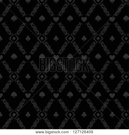 Black seamless casino gambling poker background or damask pattern and cards symbols. Seamless pattern is in the swatches palette. Casino gambling games background vector illustration