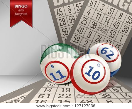 Bingo Background with Balls and Cards. Vector Illustration. Lottery composition. Vector casino illustration.