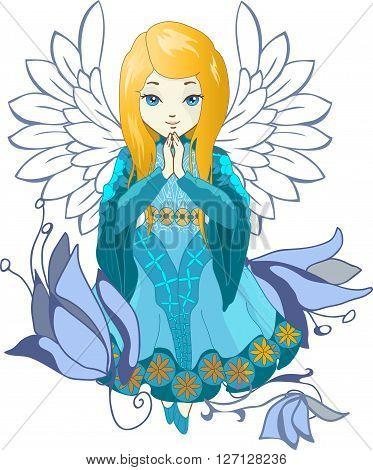Cute praying angel with flowers. Elegant vector style