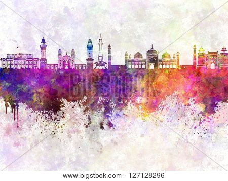 Lahore skyline in artistic abstract watercolor background
