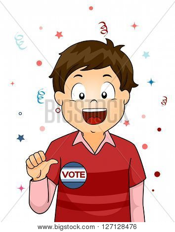 Illustration of a Little Boy Showing a Badge That Says Vote