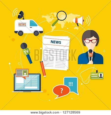 Journalism Press News Reporter. Set Of Vector Journalism Icons In Flat Design Style Spokesperson, In