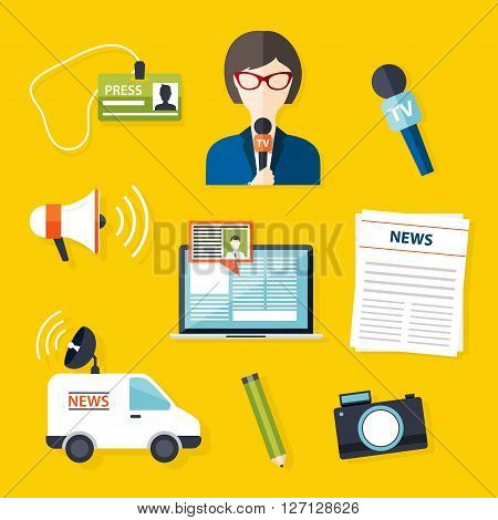 Journalism press news reporter. Set of vector journalism icons in flat design style spokesperson interview microphone tv etc newspaper. Modern flat concept.