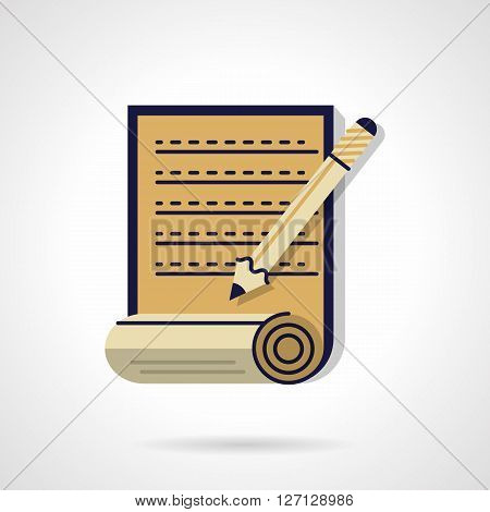 Unfolded paper roll with essay and pencil. Copywriting elements. Digital marketing. Writing articles. Flat color style vector icon. Web design element for site, mobile and business.