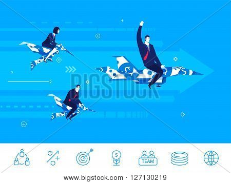 Flat design vector illustration concept of business situation. businessman and businesswoman compete. Race on birds and airplanes. Teamwork. Vector clipart. Icons set.