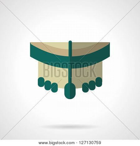 Front view of green longboard with wheels. Equipment for extreme urban sport. Repair and service for longboards, skateboards. Flat color vector icon. Web design element for site, mobile and business.